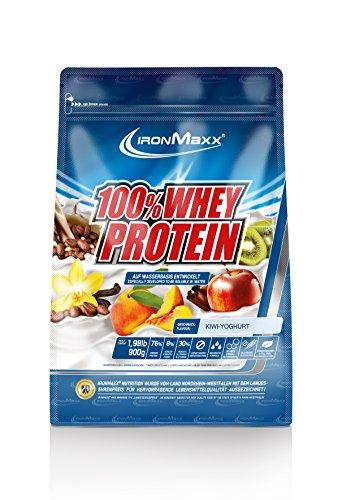 IronMaxx 100% Whey Proteinpulver / Wasserlösliches Whey Protein für Eiweißshake / Proteinshake mit Kiwi-Joghurt Geschmack / 1 x 900 g Beutel