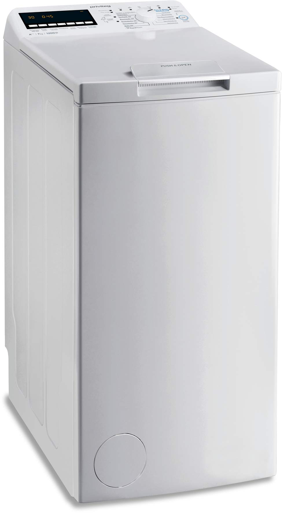 Privileg-PWT-E71253P-DE-Toplader-WaschmaschineA-7-kg-1200-UpMSoft-OpeningDaunenStartzeitvorwahlWolle-ProgrammWasserschutzBgelleicht-OptionKindersicherung