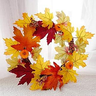 HELEVIA-Thanksgiving-Herbst-Deko-Kranz-Tr-mit-dekorierten-Rote-Frucht-Rattan-Herbst-Kranz-Krbis-Maple-Leaf-Garland-Weihnachtskranz-Wandschmuck-Dekoration-fr-Halloween-Weihnachten