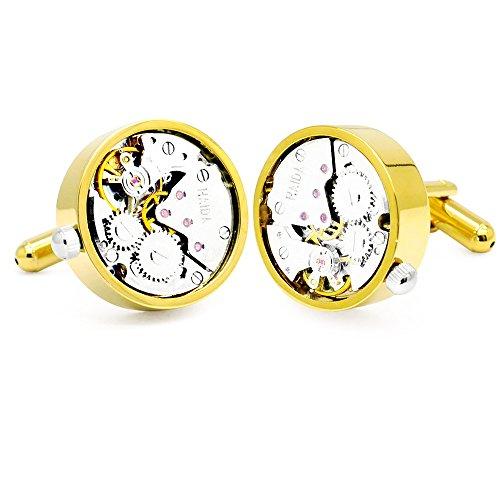 Honey Bear Watch Movement Herren Manschettenknöpfe Cufflinks Steampunk Uhrwerk Uhr Bewegung Edelstahl