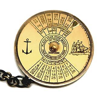 100-Jahre-Ewiger-Kalender-mit-Welt-Zeit-Taschenrechner-Schne-51-cm-Messing-Schlsselanhnger