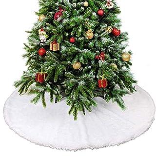Weier-Kunstpelz-Plsch-runder-Weihnachtsbaumrock-Schnee-Effekt-Teppichberzug-Vervollkommnen-Sie-fr-Klassenzimmer-Haus-Bro-Feiertags-Party-Dekoration-36-Zoll-Passt-alle-Baumgre
