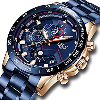 Herren-Uhren-LIGE-Schwarz-Edelstahl-Wasserdicht-Mnner-Armbanduhr-Analog-Quarz-Herrenuhr-Sport-Militr-Kalender-Chronograph