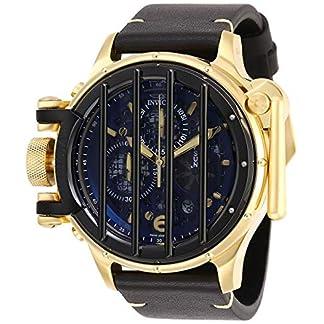 Invicta-Vintage-Herren-Armbanduhr-Armband-Leder-Schwarz-Schweizer-Quarz-28142