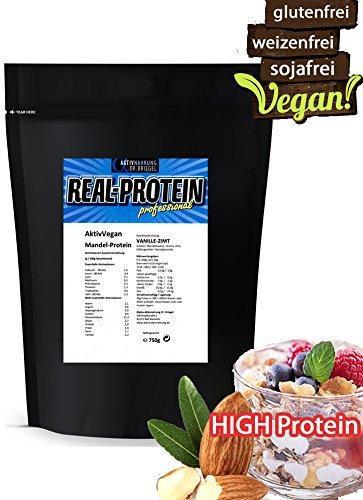 Mandel-Eiweiß vegan VANILLE-ZIMT ✓ 53% PROTEIN ✓ Mandel-Pulver 750g gluten-FREI soja-FREI zucker-FREI weizen-FREI laktose-FREI aspartam-FREI ✓IDEAL als Protein-Shake oder Mehl-Ersatz zum kochen backen