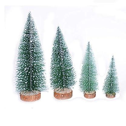 kingko-4PC-Mini-Weihnachtsbaum-Stick-White-Cedar-Desktop-Kleine-Weihnachtsbaum-Tannenbume-Miniatur-Baum-Set-beschneit-Schneetannen-Deko