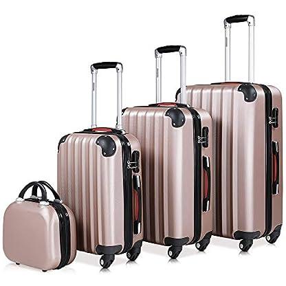 Set-mit-4-Hartschalenkoffer-MLXL-und-Kosmetikkoffer-Rose-Gold-ABS-Hartschale-Kofferset-Reisekoffer-Anti-Rutsch-Fe-2-Tragegriffe-4-Rollen-teilbar