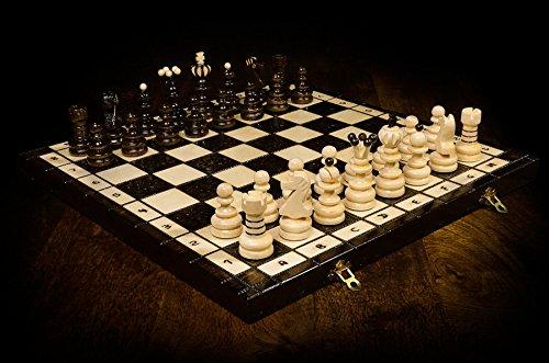 Wooden-Magic-PERLE-XL-groe-41cm16-In-Handarbeit-klassische-Holz-Schachspiel