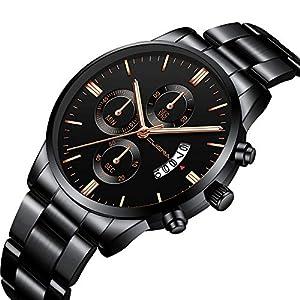 Souarts-Armbanduhr-Mnner-Analog-Edelstahl-Stahlband-mit-Kalenderuhr-Quarz-Herrenuhr-Geburtstag-Geschenk-fr-Vater-Herren