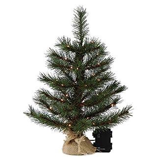 Gartenpirat-Weihnachtsbaum-Tanne-45-60-90-cm-beleuchtet-mit-Batterie-Lichterkette-LED-Deko-Christbaum-Tannenbaum