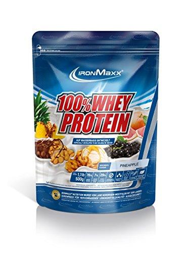 IronMaxx 100% Whey Proteinpulver Ananas / Whey Eiweißpulver für Fitness Shake / Protein auf Wasserbasis mit Ananas Geschmack / 1 x 500 g Beutel