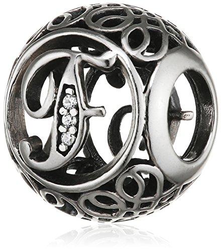 "Pandora Damen-Charm Vintage ""F"" 925 Zirkonia weiß-791850CZ"