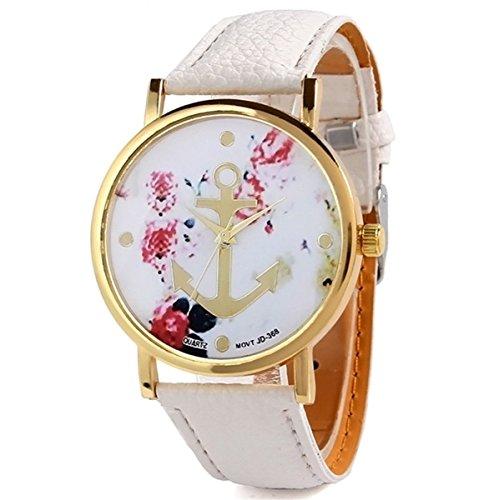 HITOP-Vintage-Retro-Blume-Damen-Armbanduhr-Basel-Stil-Anker-Blumen-Leather-Quarz-uhr-Lederarmband-Uhr-Top-Watch