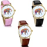 JewelryWe-Damen-Armbanduhr-Elegant-Charm-Analog-Quarz-Leder-Armband-Uhr-mit-Bunt-Elefant-Zifferblatt-3-Farben