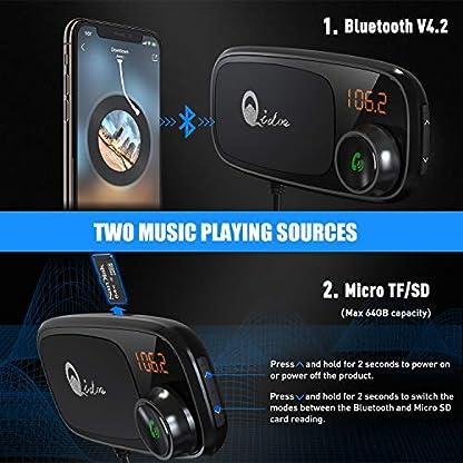 Bluetooth-FM-Transmitter-mit-Auto-Halterung-QC-30-Wireless-FM-Radio-Adapter-MP3-Musik-Player-Untersttzt-64GB-TF-Karte-Dual-USB-Bluetooth-Zigarettenanznder-Kfz-Ladegert-1M-Kabel-Magnethalter
