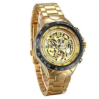 JewelryWe-Herren-mechanische-Automatik-Uhr-Gold-mit-Edelstahl-Armband-Skelett-Armbanduhr