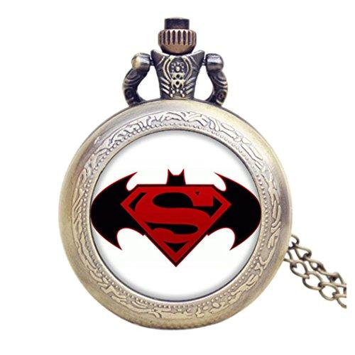 Batman-VS-SUPERMAN-LOGO-Antik-Bronze-Effekt-RetroVintage-Case-Herren-Quarz-Taschenuhr-Halskette–auf-80-cm-Kette