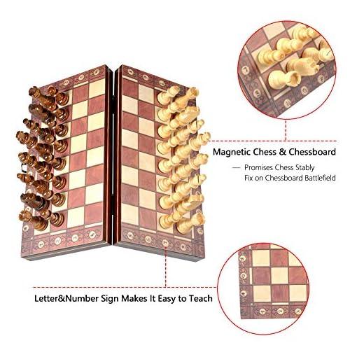 Schachspiel-Delaman-Holz-Magnetic-Travel-Schachspiel-3-in-1-94-Zoll-fr-Kinder-Erwachsene-Klapp-Turnier-Spielbrett