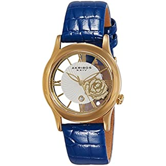 Akribos-XXIV-Damen-Armbanduhr-Analog-Display-Japanisches-Quarz-Blau