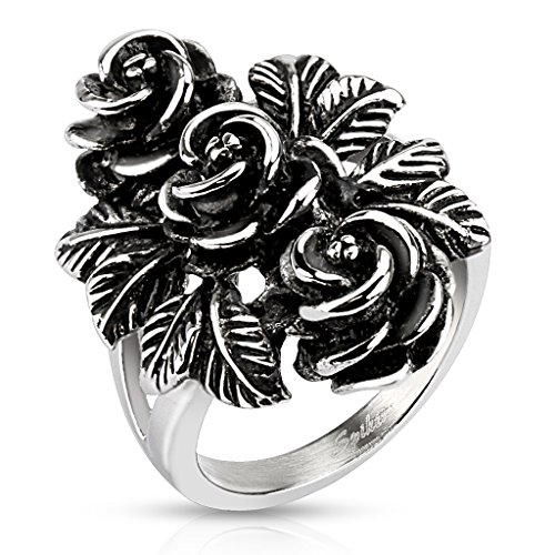 BlackAmazement Edelstahl Ring Vintage Rose Rosen Flower Massiv Gothic Silber Cast Band Damen