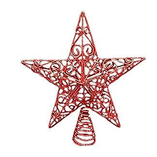 Weihnachtsschmuck-30-cm-groe-Rot-Glitter-Star-wirbelt-Christbaumspitze