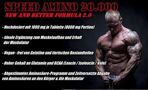 SPEED AMINO 20.000 | 3×900 (2700) Tabletten (Vegan) | BCAA+ Glutamin – Protein | Muskelaufbau + Muskelschutz + Low Carb | Komplex aller 18 Aminosäuren inkl. aller essentieller Aminos | Großpackung zum fairen Preis