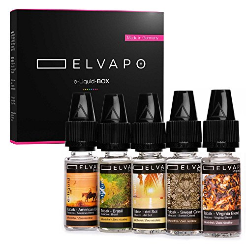 5 x 10ml Elvapo Premium E-LIQUID-BOX | Made in Germany | Tabak-Set: American Blend, Virginia Blend, Sweet Orient, Del Sol, Brasil | Probierset für E-Zigaretten und E-Shishas | 0mg (ohne Nikotin)