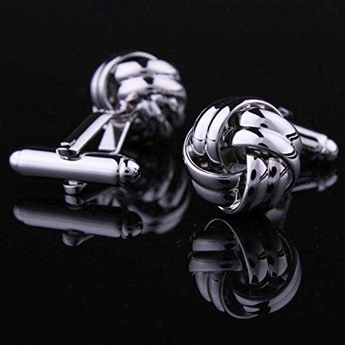 BEDERO Herren Hochzeits Legierung Manschettenknöpfe klassischen Knoten Silber Hemd Manschettenknöpfe
