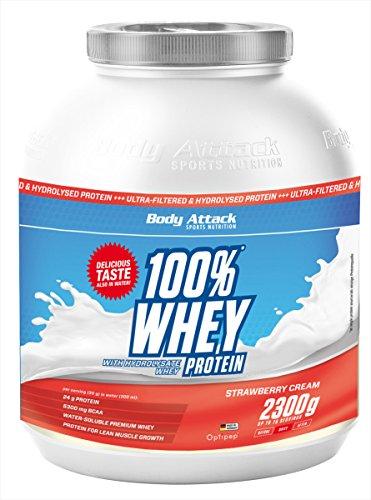 Body Attack 100% Whey Protein, Erdbeere, 1er Pack (1x 2300g)