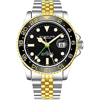 Stuhrling-Original-Herren-Edelstahl-Jubilumsarmband-GMT-Uhr-Schweizer-Quarz-Dual-Time-Quickset-Datum-mit-verschraubter-Krone-wasserdicht-bis-10-ATM