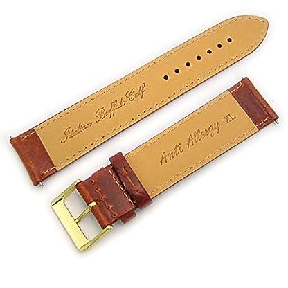 Verona-gepolstert-camel-Getreide-XL-Extra-Lang-Uhrenarmband-Leder-Band-22-mm-hellbraun-mit-vergoldet-Gold-Farbe-Schnalle