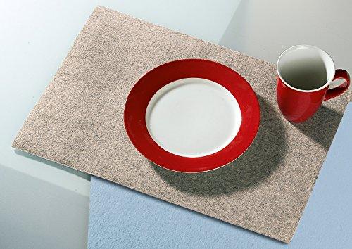 Filzuntersetzer Tischset Platzset rechteckig 45 x 30 cm Filz Untersetzer creme melange melliert 4er Set Gilde