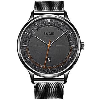 BUREI-Unisex-Cool-minimalistisch-Quarz-Uhren-mit-Kalender-Zifferblatt-schwarz-Mineralglas-schwarz-Milanaise-Mesh-Gurt