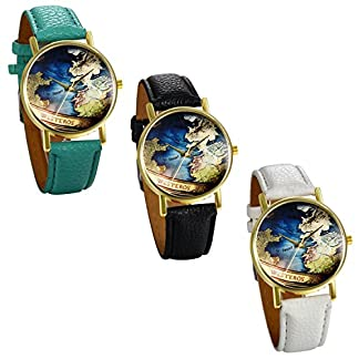 JewelryWe-Damen-Mdchen-Armbanduhr-Retro-Weltkarte-Globus-Karte-Analog-Quarz-Uhr-mit-Leder-Armband-Farbe-Wei-Schwarz-Grn