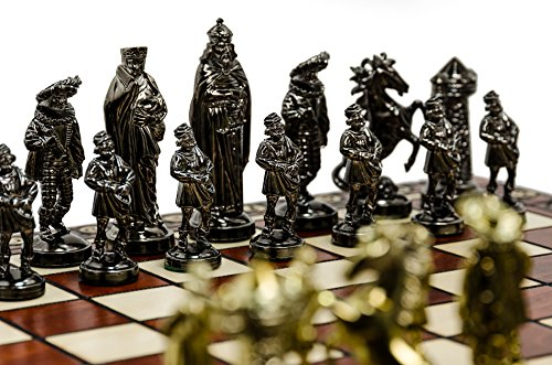 Luxus-mittelalterlichen-GOLD-40cm16-metallisierte-Kunststoff-Metall-gewichtet-Schachfiguren-groe-dekorative-Holz-Schachbrett