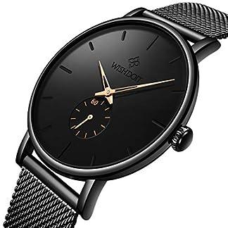 WISHDOIT-Unisex-Damen-Herren-Uhren-Wasserdicht-Mode-Minimalistische-Analoger-Quarz-Armbanduhr-Mnner-Schwarz-Edelstahl-Mesh-Armbanduhren