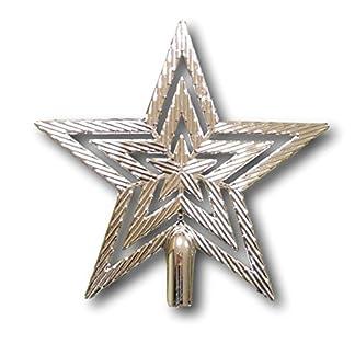 UrbanDesign-Weihnachtsbaumspitze-Baumspitze-Spitze-Stern-Baumschmuck-Weihnachtsbaum-Stern-Weihnachtsstern-Glitzer-Glanz-19cm-Silber