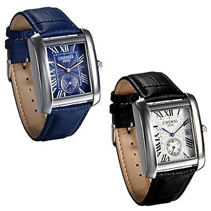 JewelryWe-Herren-Armbanduhr-Retro-Kalender-Analog-Quarz-Uhr-mit-Rechteckig-Rmischen-Ziffern-Zifferblatt-und-Leder-Armband-Farbe-Schwarz-Blau