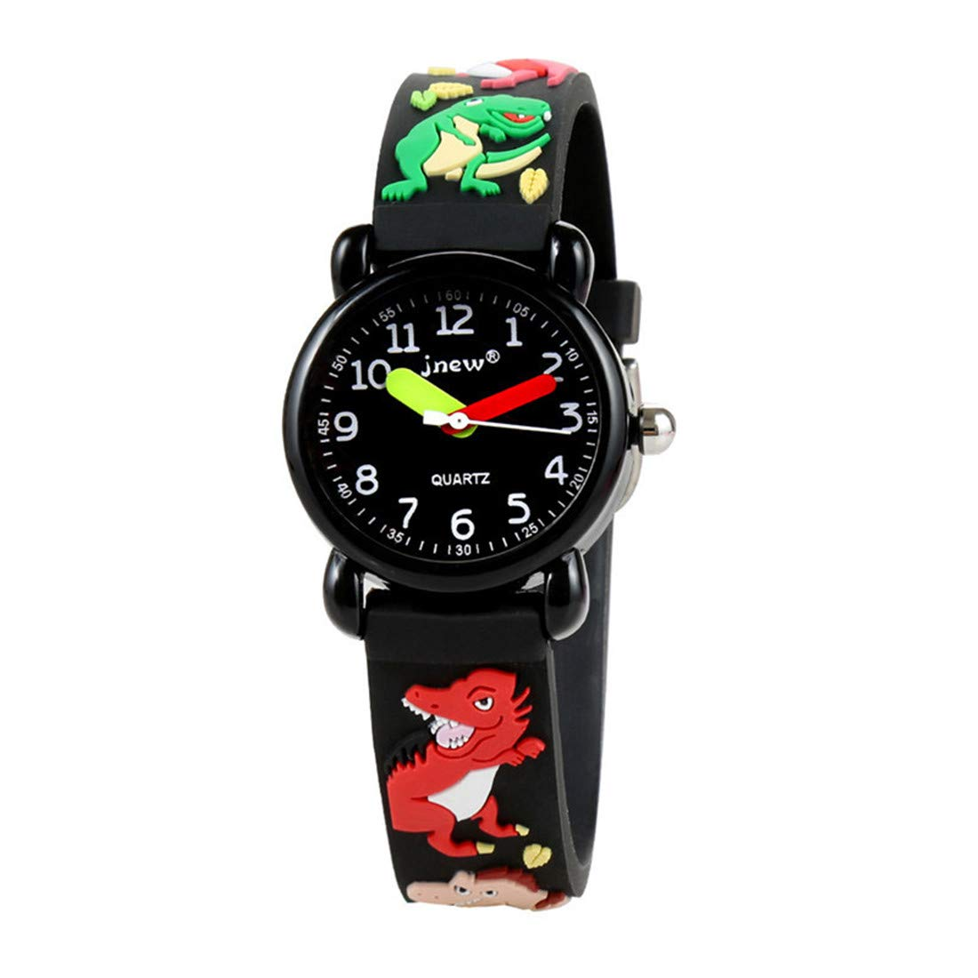 Souarts-Kinder-Armbanduhr-Cartoon-3D-Dinosaurier-Muster-Silikon-Wasserdicht-Quarzuhr-Geschenke-Schwarz