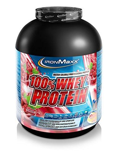 IronMaxx 100% Whey Protein / Proteinpulver auf Wasserbasis / Eiweißpulver für Proteinshake mit Himbeer Geschmack / 1 x 2,35 kg Dose