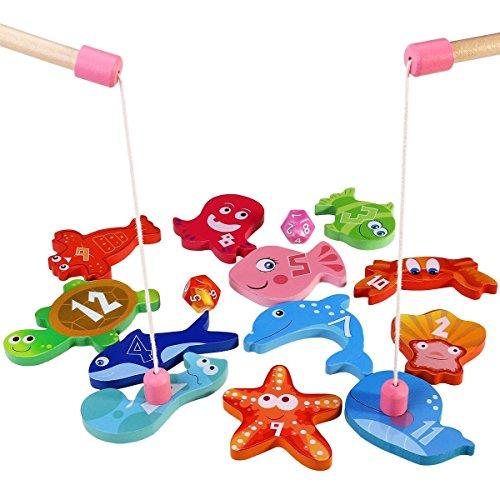 BESTOYARD-Angelspiel-aus-Holz-Angeln-Spielzeug-Kinderspiel-mit-12-Verschiedenen-Holz-Magnet-Fische-und-2-Ruten-Perfekt-Lernspiel-fr-Kinder-Frherziehung