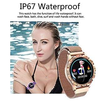 Bluetooth-Smartwatch-Damen-Kompatibel-mit-iOS-Android-Smartwatch-104-Zoll-Kalorien-Fitness-Tracker-ArmbandMilanis-Edelstahl-wasserdicht-Wristband