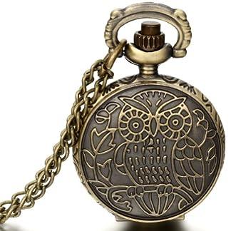 JewelryWe-Damen-Herren-Taschenuhr-Eule-Blumen-Uhranhnger-Quartz-Legierung-Kettenuhr-Uhr-Halskette-Farbe-Bronze