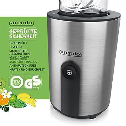 Arendo-mini-Standmixer-Mix-Go-Smoothiemaker-inkl-2-x-ToGo-Becher-Edelstahlmesser-4-flgelig-Einfache-1-Tastenbedienung-automatische-Sicherheitsabschaltung