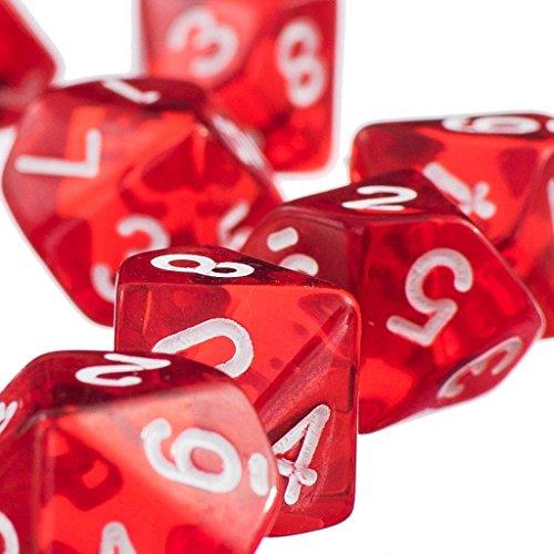D10-Rot-Zehn-Seitige-Juwel-Wrfel-Fr-RPG-Dungeons-Dragons-Spiele-Satz-Von-10-Wrfel