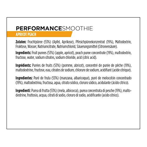 PowerBar Performance Smoothie aus Fruchtpüree – Mit Kohlenhydraten, Maltodextrin & Natrium – Energie Gels ohne Konservierungsstoffe – Vegan, Apricot Peach, (16 x 90g)