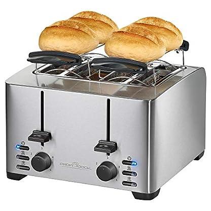 Profi-Cook-PC-TA-1073-4-Scheiben-Toaster-Edelstahlgehuse-2x-Brtchenaufsatz-stufenlos-einstellbarer-Brunungsgrad-Zentrierfunktion-Krmelschublade