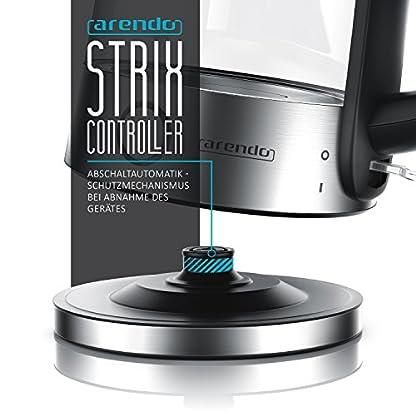 Arendo-Glas-Edelstahl-Wasserkocher-mit-LED-Innenbeleuchtung-2200-Watt-17-Liter-integrierter-Kalkfilter-automatische-Abschaltung-durch-patentierten-Strix-Contoller-Kabellos