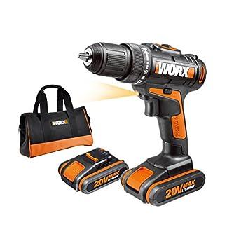 WORX-WX170-Akkuschrauber-20V-30Nm-2-Gang-Getriebe-LED-Licht-Akkubohrschrauber-Set-zum-Bohren-Schrauben-mit-2-Li-Ion-Akkus-Ladegert-Werkzeug-Tasche