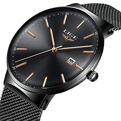 LIGE-Ultradnner-Herren-Uhren-Edelstahl-Wasserdicht-Analoge-Quarzuhr-Mnner-Mode-Schwarz-Mesh-Uhr